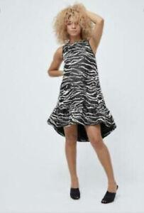 Zebra Crystal Pop On Dress Black Stripe Size 14 New Was £129