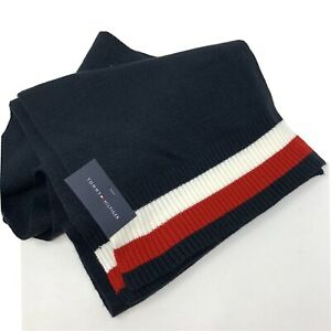 TOMMY HILFIGER Men's Navy Blue White Red Classic Scarf NWT
