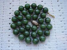 Collana vintage 1filo a calibro agata muschiata verde chiusura argento 925