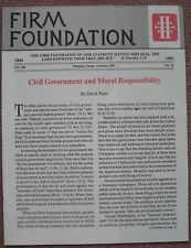 FIRM FOUNDATION ~ Civil Government and Moral Responsibility ~ Church Of Christ