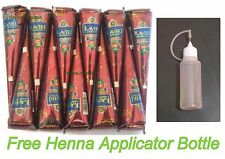 12 Natural Henna Herbal Cones + Applicator Bottle Body Ink Temporary Tattoo Kit