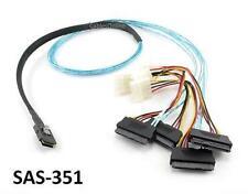 """39"""" Mini SAS 36Pin (SFF-8087) M to SAS 29Pin F (SFF-8482) w/ 4-Molex Power Cable"""