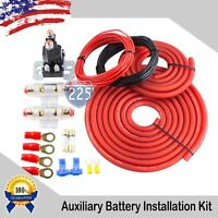 DUAL / AUXILIARY BATTERY ISOLATOR RELAY WITH COPPER CABLES COMPLETE KIT W/ FUSES