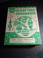 "Vintage ""COBY""   ~ Glass Christmas Tree Ball Ornaments lot 2 🔥 sweet item~ USA"