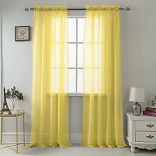 """SET OF 2 SHEER VOILE TAILORED CURTAINS 84"""" LONG BRIGHT YELLOW"""