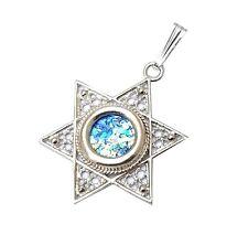 925 Silver Filigree Roman Glass Star Of David  Pendant Necklace
