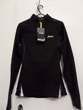 ASICS WOMENS FUJITRAIL L/SLEEVED 1/2 ZIP BALANCE BLACK with YELLOW- XS - RUNNING