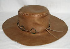 Vintage Leather Floppy Hat w Rings Mexico Hillbilly Boho Hippie Festival Brown