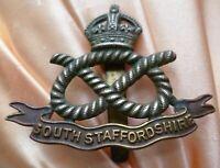 WW1 South Staffordshire Regiment Cap Badge KC Bi-Metal Slider Genuine/Original