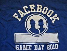 FACEBOOK logo EMPLOYEE T-SHIRT Blue Medium American Apparel MD tee Game Day poke