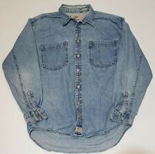 Levi's Vtg Light Blue Denim Jean Metal Button Down Shirt Mens M Red Tab