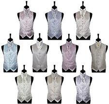 "SALE Men's Scroll Wedding Groom Waistcoat, Cravat & Hankie - Size 34"" - 60"""