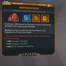 Rabid Bounty Hunter L57 +25% Weapon Damage +14% Rate Fl4k Class Mod Rate BL3 PC