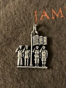 James Avery Retired Military Soldiers Salute Charm Sterling Silver