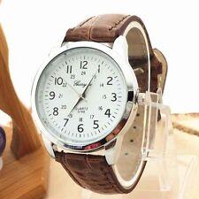 Ladies Silver Gerryda Quartz White Face Brown Band Wrist Watch.(Aussie Seller)