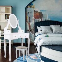 Blanc Coiffeuses Coiffeuse meuble table maquillage tabouret commode avec miroir