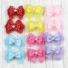 20/50/100Pcs Pearl Lace bow Satin Ribbon Flowers DIY Wedding Appliques Bowknot