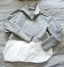 ZARA Gray White Blouse Tunic Sweater Top XS