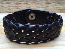 Lovely Vintage Style Leather Plaited Bracelet/Cuff/Dark Brown/Chunky