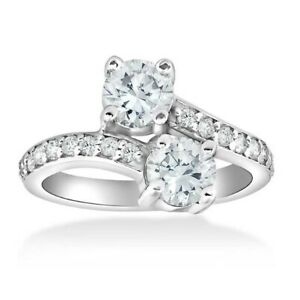 2.60Ct White Round Diamond Forever US Together Ring In Solid 925 Sterling Silver