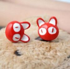 1 Pair Cute Pussy Cat Ear Cuff Stud Earrings Sweep Wrap Vintage Style Red ER35