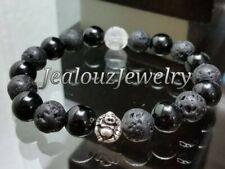 925 Sterling Silver Lucky Buddha Lava Onyx Gemstone Mens Yoga Stretch Bracelet