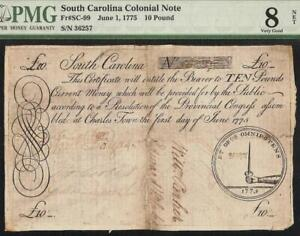 1775 SOUTH CAROLINA COLONIAL CURRENCY 10 POUND NOTE OLD PAPER MONEY SC-99 PMG