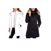 1 Madison Expedition Womens Black White Zip Up Faux Fur Parka Jacket Winter NWT