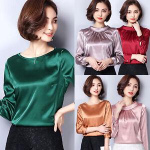 Women 3/4 Long Sleeve Business Retro Satin Faux Silk Blouse Party Shirt Tops