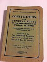 Constitution & General Rules Railroad Trainmen 1935 Book  SKU 071-013