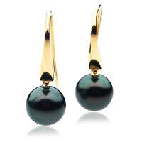 Pacific Pearls® New 11mm Black Tahitian Pearl Gold Earrings Date Night Jewellery