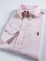 Ralph Lauren Shirt Women's Harper Oxford Baby Pink Stripe Custom Fit Long Sleeve
