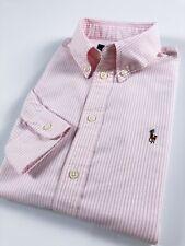 Ralph Lauren camisa para mujer Harper Oxford Bebé Rosa Raya De Manga Larga Ajuste Personalizado