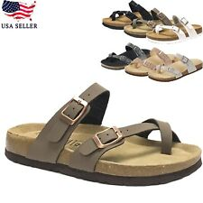 NEW Women's Casual Summer Ring Toe Thong Slide Buckle Strap Footbed Cork Sandal