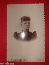 Antique Ancestor Photo Lady Black Dress w/ Locket H A Beard  Studio Waukegan Il