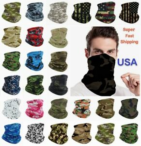 Face Mask Bandana Camouflage Camo Cover Snood Scarf Neck Gaiter Reusable Unisex
