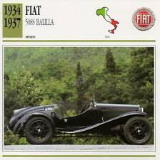 1934-1937 FIAT 508S BALILLA Sports Classic Car Photo/Info Maxi Card