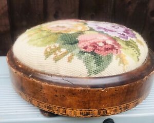 Antique Wood Marquetry Inlay Worked Rim Foot Stool Bat Ball Feet c1870 Tapestry