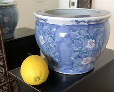 Chinese Planter Fish bowl Pastel Signed ceramic pot