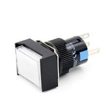 16mm Druckknopf Drucktaster taster Rechteckig Cap LED Weiß Licht AC 220V 5 Pin