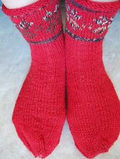 Hand knitted wool blend socks with Latvian design, red
