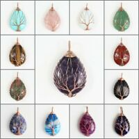 Natural Amethyst Teardrop Rose Gold Tree of Life Wire Wrap Pendant Fits Necklace
