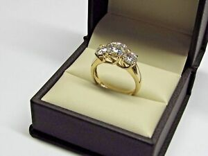 2.60 Ct Round Solitaire Diamond Engagement Ring 14K Solid Yellow Gold Size 6 7 5