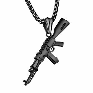 """Men's Punk Rock Stainless Steel Army Style Rifle Gun Pendant Necklace Chain 22"""""""
