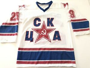 Vintage 1980s CSKA Moscow UCKA Soviet Union Russian Hockey Jersey Large Federov