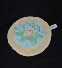 Peluche doudou hippopotame rond plat BABY NAT' bleu jaune vert Mon Petit Hippo