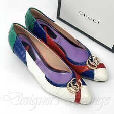 NEW GUCCI Snakeskin 40 G Crystal GG Elaphe Axel Multicolor Pump Shoe $1290 Auth