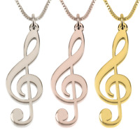 Sterling Silver / Gold Music Note Necklace - Treble Clef Necklace - Sol Pendant