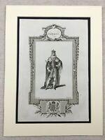 1791 Print King James I of England Portrait Original Antique Engraving