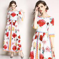 2018 spring/summer women's fashion temperament printing High Waist A-line Dress